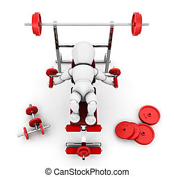 Gym equipment - 3D render of someone using gym equipment