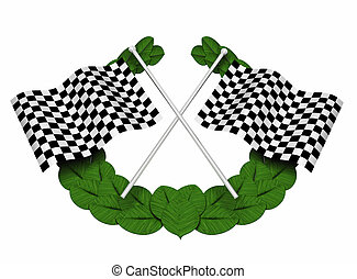 Chequered flags - 3D render of chequered flags