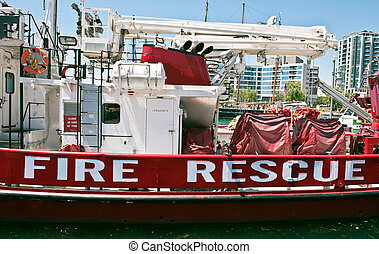 Fire rescue boat lake Ontario Toronto