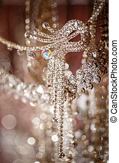 Necklaces with rhinestones - Close up of necklaces with...