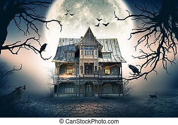 Haunted House with Crows and Spooky Atmosphe