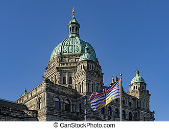 British Columbia Parliament Building and BC Flag Victoria BC Canada