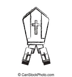 Isolated religion pope hat design - Pope hat icon. Religion...