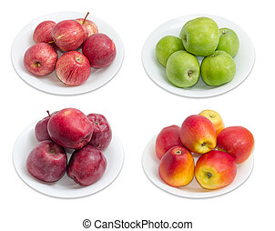 Four cultivars of apples on white dishes on light background...