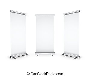 Three blank roll-up banners with shadow on white - Three...
