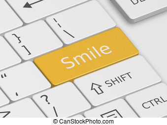 The word Smile written on an orange key from the keyboard