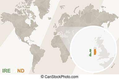 Zoom on Ireland Map and Flag. World Map.