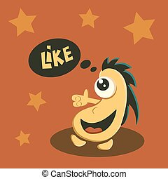 like it symbol monster - Like it symbol sign. Cute funny...