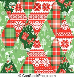 Christmas and New Year patchwork seamless background.