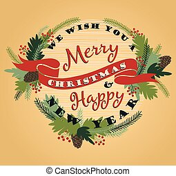 Merry Christmas background with Typography. Vector...