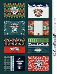 Christmas and New Year Set. Plaid and knitted backgrounds....
