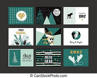 Set of artistic creative Merry Christmas and New Year
