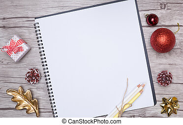 Christmas letter writing on white paper with decorations. -...