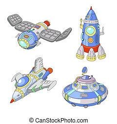 Spaceship and UFO cartoon set, Rocket and spacecraft...
