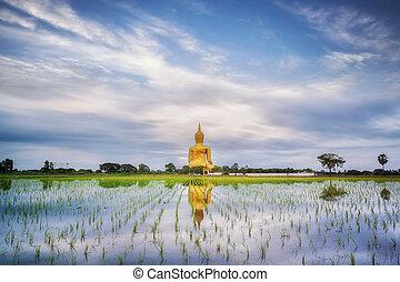 Big gold buddha statue wat muang angtong thailand temple and...