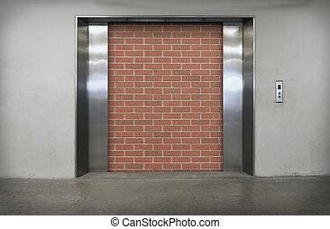 elevator - Modern elevator with orange brick