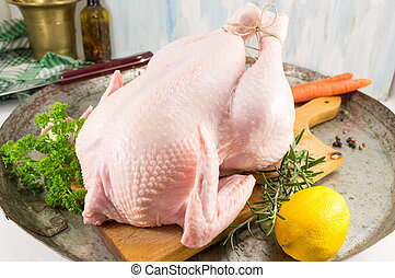 Raw chicken ready for cooking - Raw chicken meat on a plate...