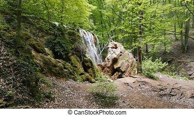 Crimean Waterfall Silver stream. UltraHD (4K)