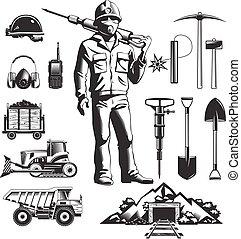 vendimia, minería, Conjunto, industria, iconos
