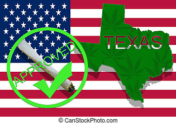Texas  on cannabis background. Drug policy. Legalization of marijuana on USA flag,