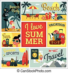 I love summer. Vector illustration of traditional vacatio -...