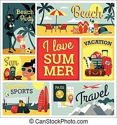 I love summer. Vector illustration of traditional vacatio -...