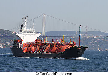 LPG Tanker Ship Passing in Bosphorus Strait