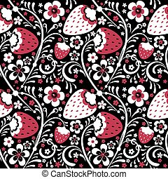 Winter strawberry pattern in Khokhloma style. Vector...