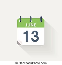 13 june calendar icon on grey background