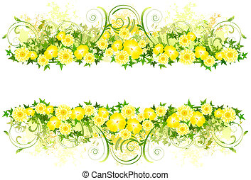 Floral decoration with yellow flowers (with clipping path) -...