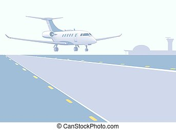 Business jet landing (take-off). Runway, airfield, airport...