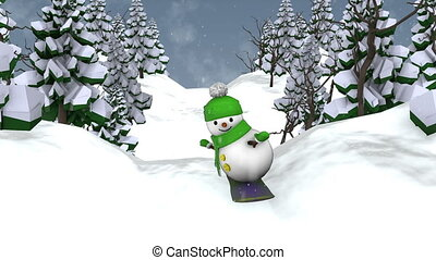 Snowman on snowboard - Snowman snowboarding. Loop animation.
