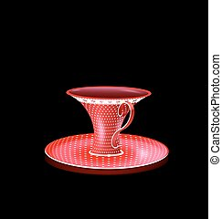 crimson white cup - black background and the big red...