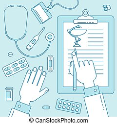 Medical clipboard, vector illustration with doctors hand....