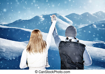 Happy couple concept - Happy couple in winter mountains,...