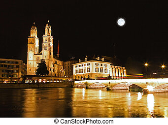 The Grossmunster Cathedral in Zurich Switzerland at night