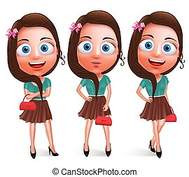 Lovely teen girl vector characters for fashion holding...