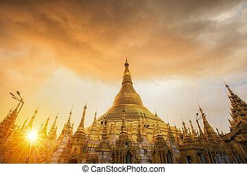 Shwedagon Pagoda - Yangon, Myanmar view of Temple and...