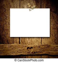 Christmas blank letter on rustic wall.Copyspace.