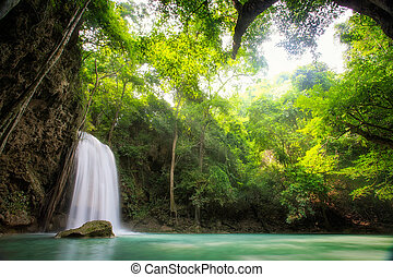Erawan Waterfall, Erawan National Park in Kanchanaburi,...