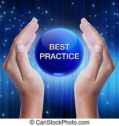 Hand showing blue crystal ball with best practice word....
