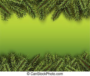 Christmas background with green fir tree