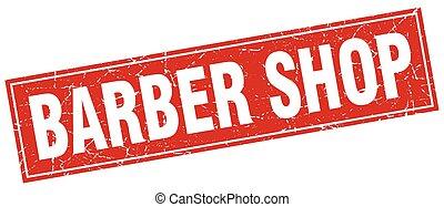 barber shop square stamp