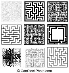 Collection of maze with solution. Vector Labyrinth set.