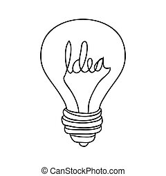 silhouette contour bulb with resistance in shape word idea...