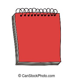 colorful notebook of spiral in red vector illustration