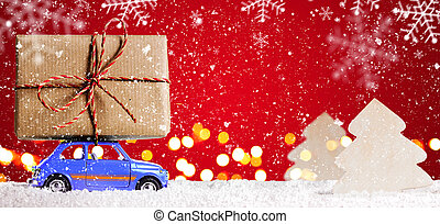 Retro toy car with christmas gifts - Blue retro toy car...