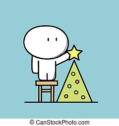 Cute man and Christmas tree