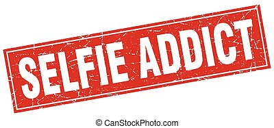 selfie addict square stamp