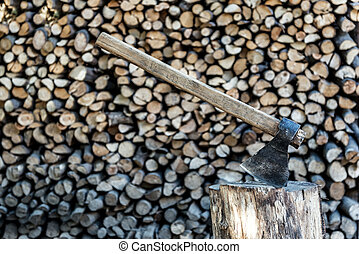axe - wood and axe close up